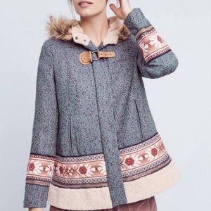 Anthropologie northerner coat elevenses Nordic fur